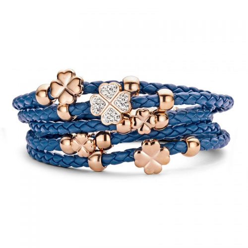 Claudine Blue Leather Bracelet with CZ and Rose Gold Plated Clovers