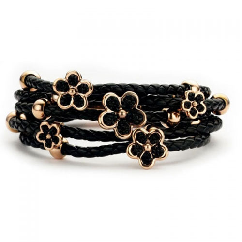Claudine Black Leather Bracelet