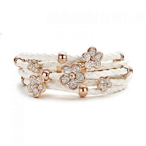 Claudine White Stones Leather Bracelet