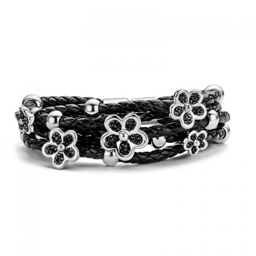 Claudine Black Flower Stones Leather Bracelet
