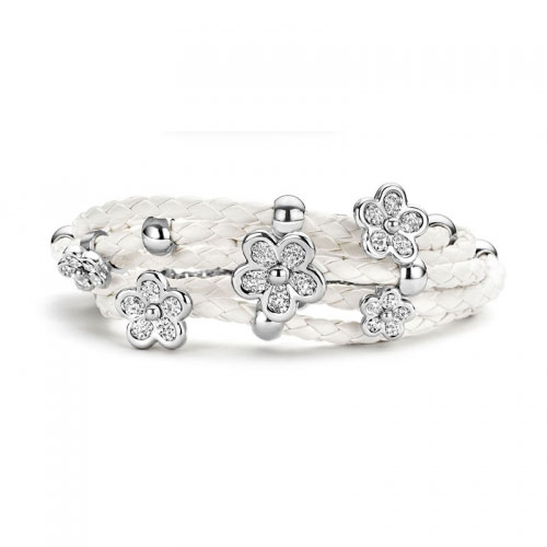 Claudine White Leather Bracelet Silver Tone & CZ Flowers