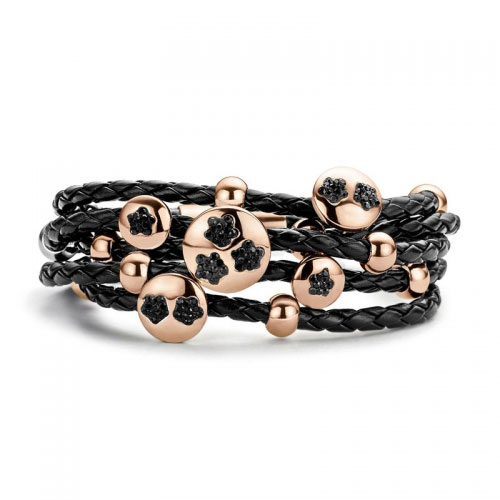 Claudine Black Stones Leather Bracelet