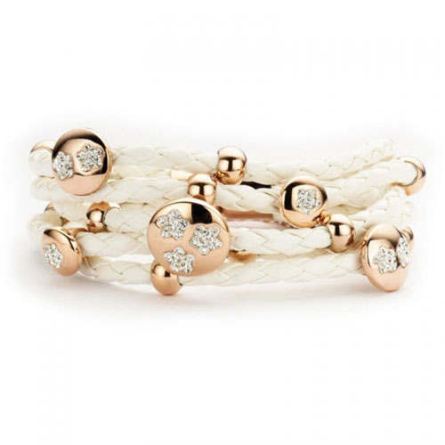 Claudine White and Rose Gold Plated Leather Bracelet