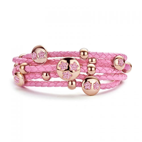 Claudine Claudine Pink Stones Leather Bracelet