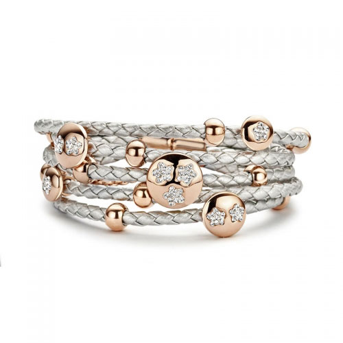 Claudine Claudine Rose Gold Plated Flower Silver Leather Bracelet