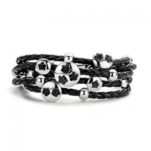 Claudine Claudine Black Flower Leather Bracelet