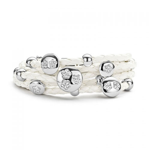 Claudine CZ Flower White Leather Bracelet