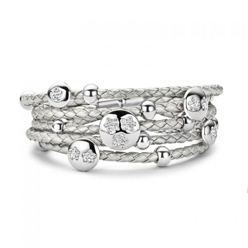 Claudine Claudine CZ Flower Silver Leather Bracelet