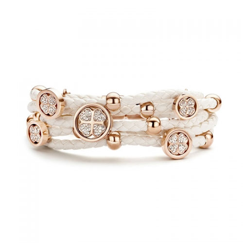Claudine Rose Gold Plated Clover Leather Bracelet