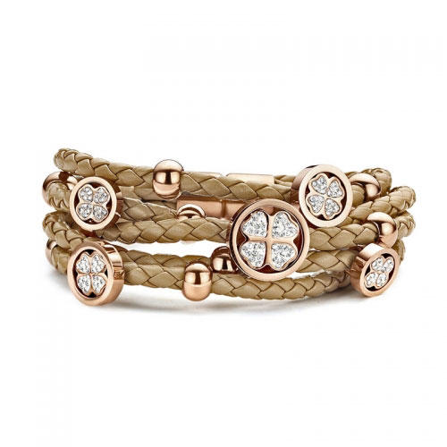 Claudine Rose Gold Plated Clover Brown Leather Bracelet