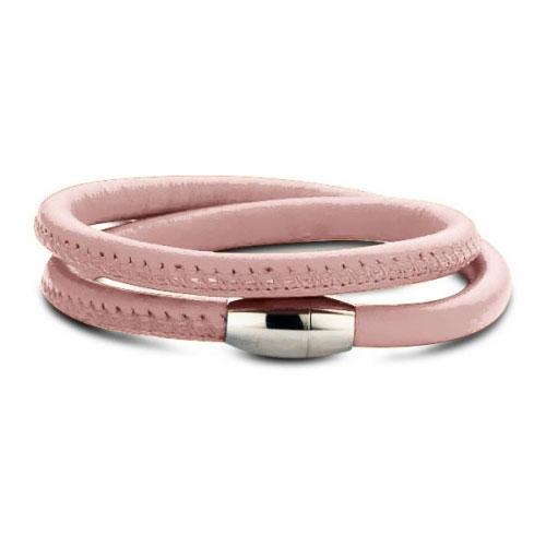 Claudine Powder Pink Leather Wrap Bracelet