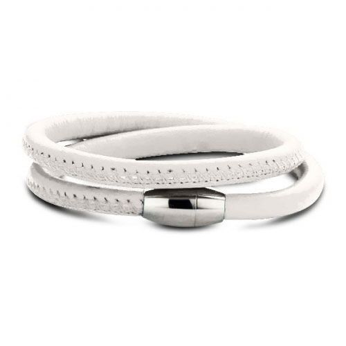 Claudine White Leather Wrap Bracelet