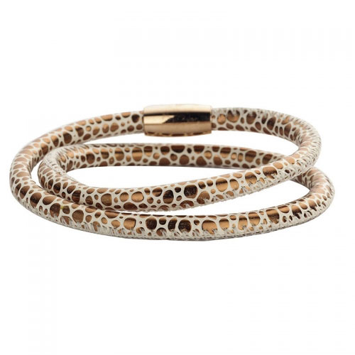 Claudine Bronze Leather Style Wrap Bracelet