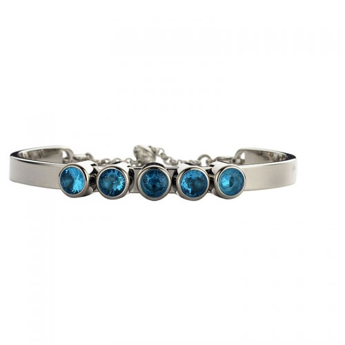 Claudine Silver Tone Bracelet with Blue CZ Detail