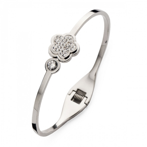 Claudine Silver Tone Daisy Bangle