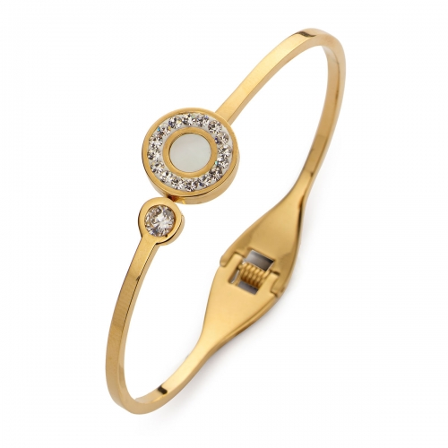 Claudine Gold Tone Plated CZ Bangle