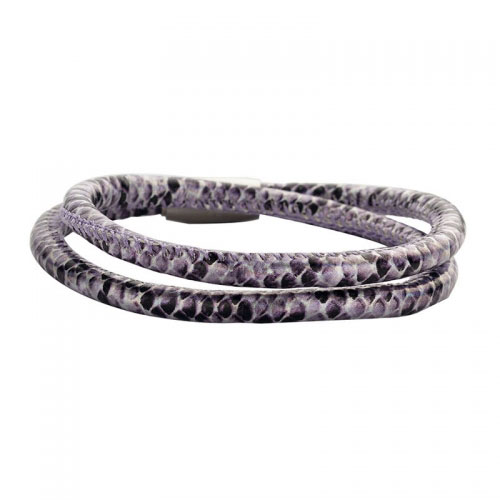 Claudine Purple and Black Leather Style Bracelet