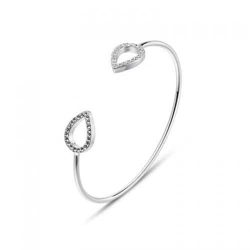Kaytie Wu Silver Plated Water Drop Bangle With Swarovski Crystals