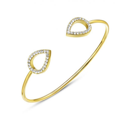 Kaytie Wu Gold Plated Water Drop Bangle With Swarovki Crystals