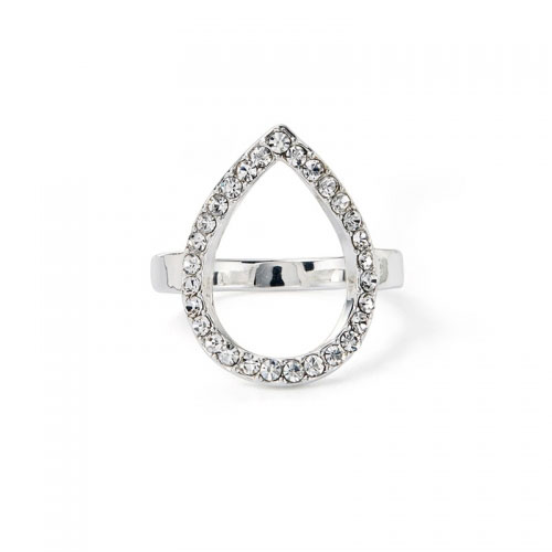 Kaytie Wu Silver Plated Water Drop Ring With Swarovski Crystals