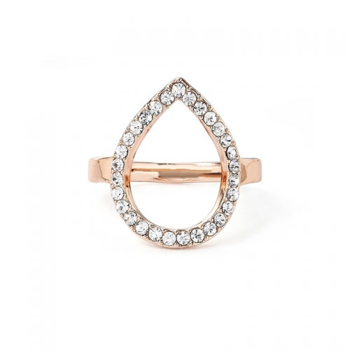 Kaytie Wu Rose Gold Plated Water Drop Ring With Swarovski Crystals