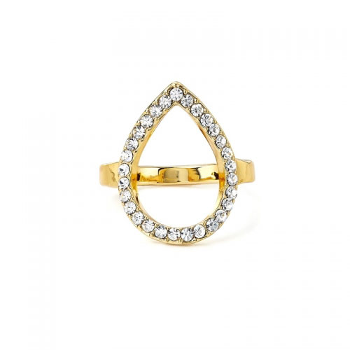Kaytie Wu Gold Plated Water Drop Ring With Swarovski Crystals