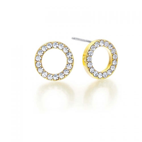 Kaytie Wu Gold Plated Circle Earrings With swarovski Crystals