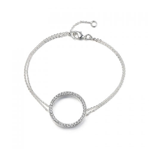 Kaytie Wu Silver Plated Circle Bracelet with Swarovski Crystals