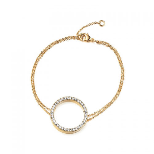 Kaytie Wu Gold Plated Circle Bracelet with Swarovski Crystals