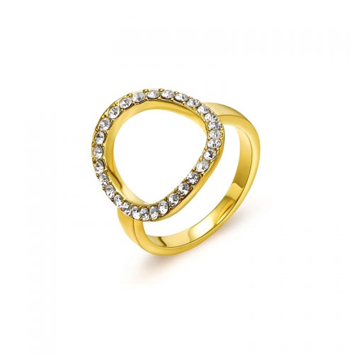 Kaytie Wu Gold Plated Circle Ring With Swarovski Crystals