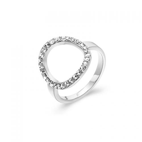 Kaytie Wu Silver Plated Circle Ring With Swarovski Crystals