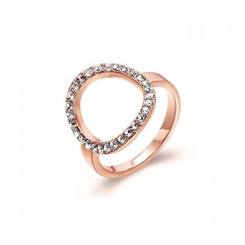 Kaytie Wu Rose Gold Plated Circle Ring With Swarovski Crystals