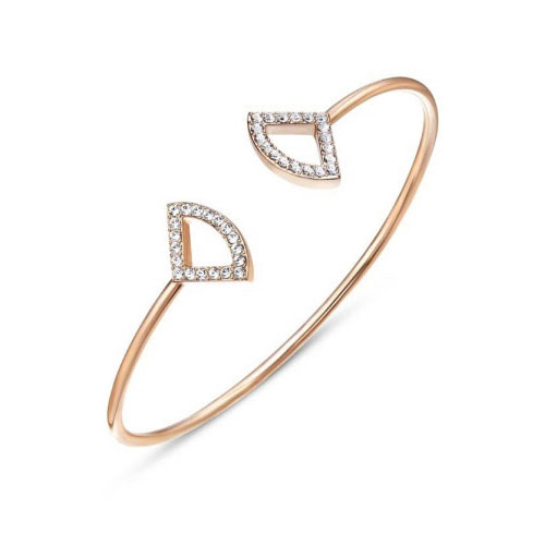 Kaytie Wu Rose Gold Plated Fan Bangle With Swarovski Crystals