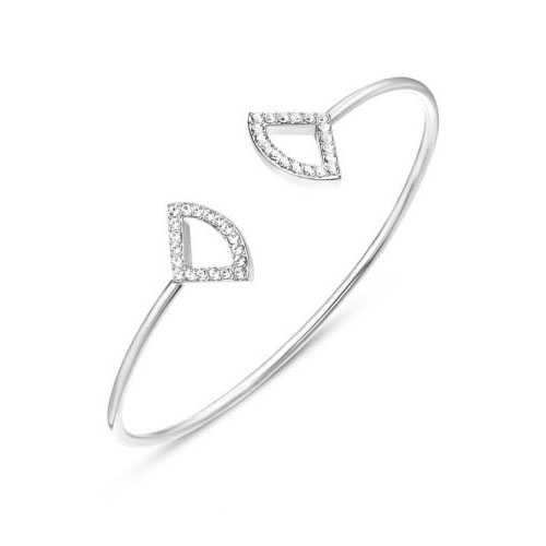 Kaytie Wu Silver Plated Fan Bangle With Swarovski Crystals