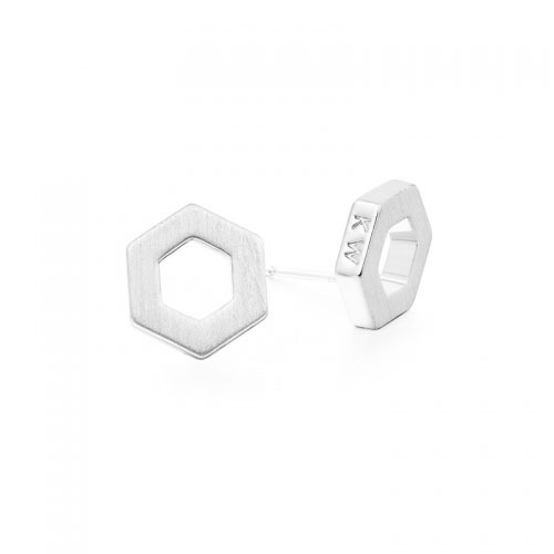 Kaytie Wu Silver Plated Hexagon Earrings