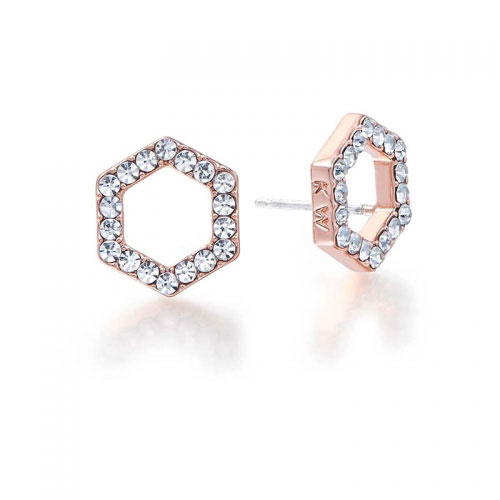 Kaytie Wu Rose Gold Plated Hexagon Earrings With Swarovski Crystals