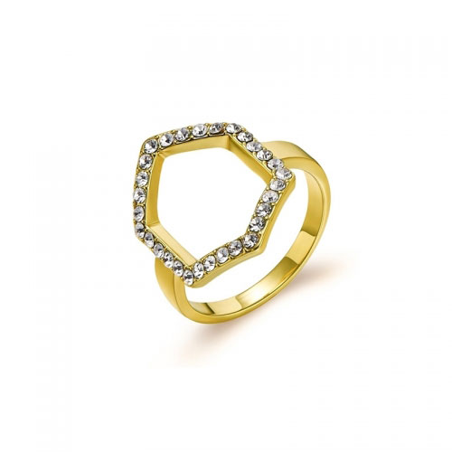 Kaytie Wu Gold Plated Hexagon Ring With Swarovski Crystals