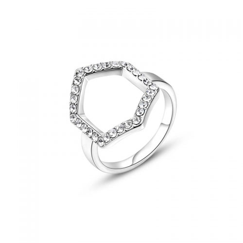 Kaytie Wu Silver Plated Hexagon Ring With Swarovski Crystals