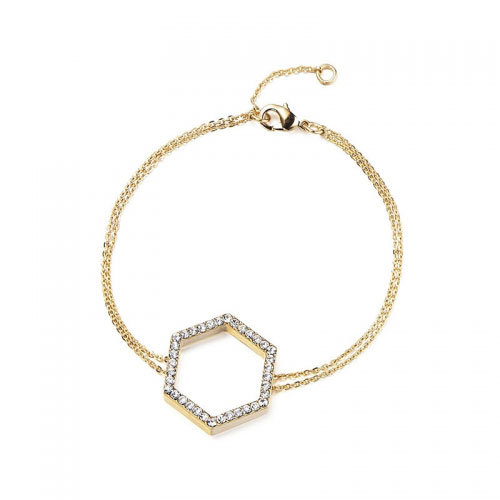 Kaytie Wu Gold Plated Hexagon Bracelet with Swarovski Crystals