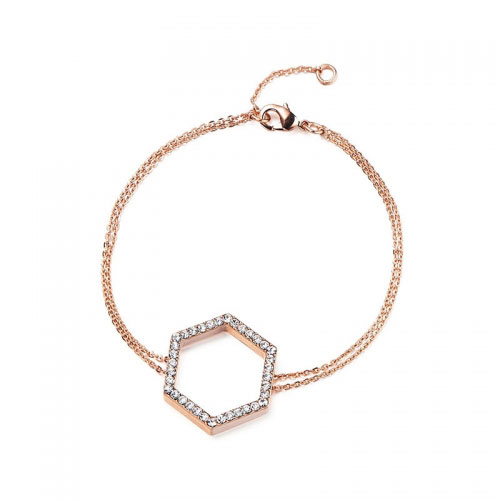 Kaytie Wu Rose Gold Plated Hexagon Bracelet With Swarovski Crystals