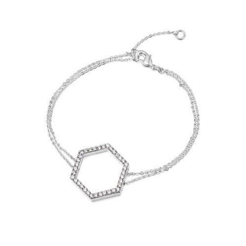 Kaytie Wu Silver Plated Hexagon Bracelet With Swarovski Crystals
