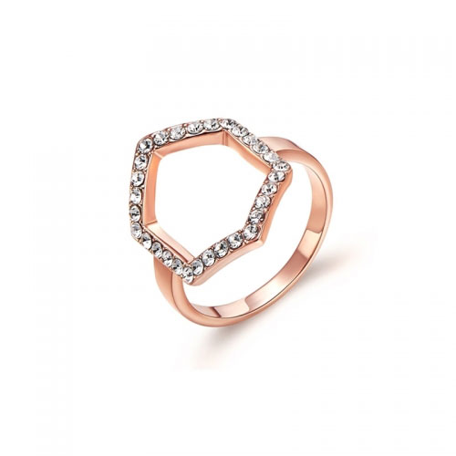 Kaytie Wu Rose Gold Plated Hexagon Ring With Swarovski Crystals