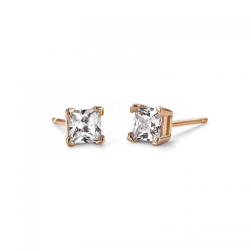 Square Cut 6mm Rose Gold Plated Gold Stud Earrings