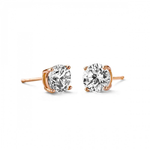 Claudine Round Cut 6mm Silver and Rose Gold Plated Stud Earrings