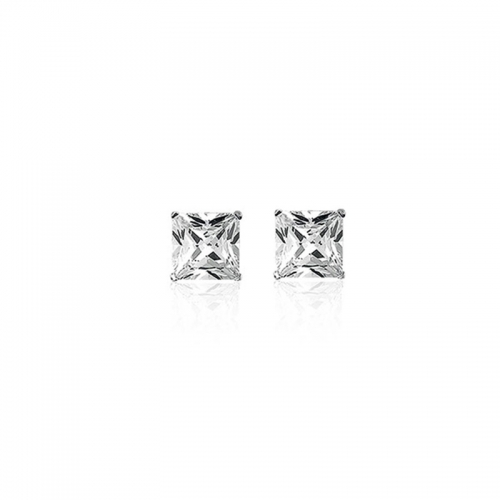 Square Cut 8mm Silver Stud Earrings