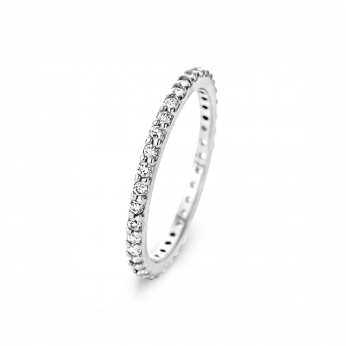Silver Channel Set 2mm CZ Ring