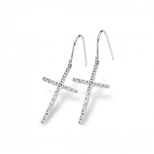Claudine Silver Cross Dangle Earrings