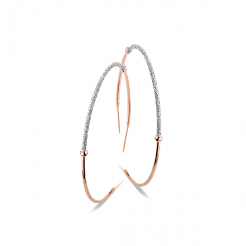 Claudine Rose Gold Plated Hoop Earrings With Glitter Detail