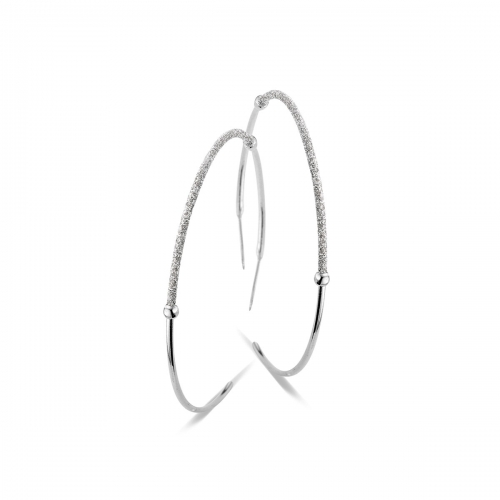 Claudine Silver Hoop Earring with Glitter Detail