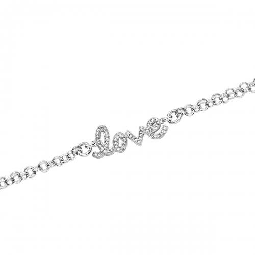 Claudine Silver CZ Love Bracelet